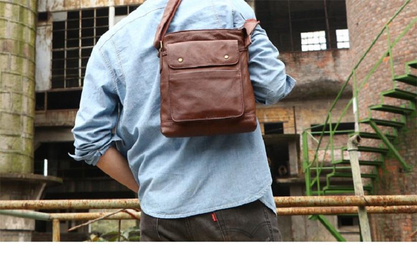 Real Cow Leather Vertical Mens Messenger Bag Retro Soft Casual Shoulder Body Bag