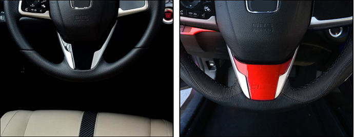 1PCS ABS Red Steering wheel Bottom Molding Cover Trim For Honda Civic 2016-2018