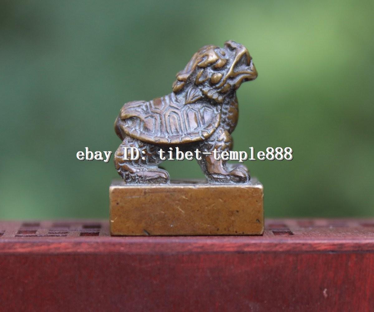 3 cm China Pure Bronze Dragon turtle tortoise Animal Statue seal stamper signet