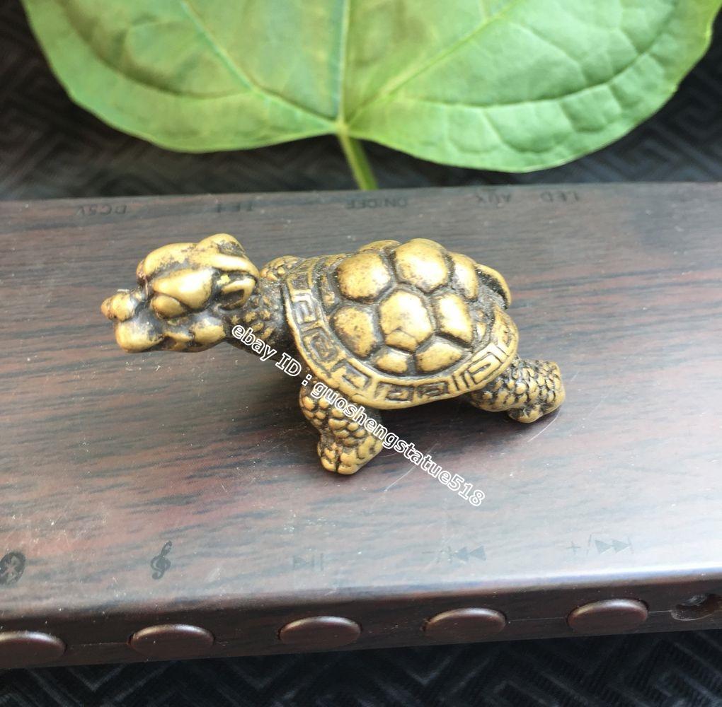 5 CM Chinese 100/% Pure Bronze Buddhism Fengshui Animal Tortoise Turtle Statue