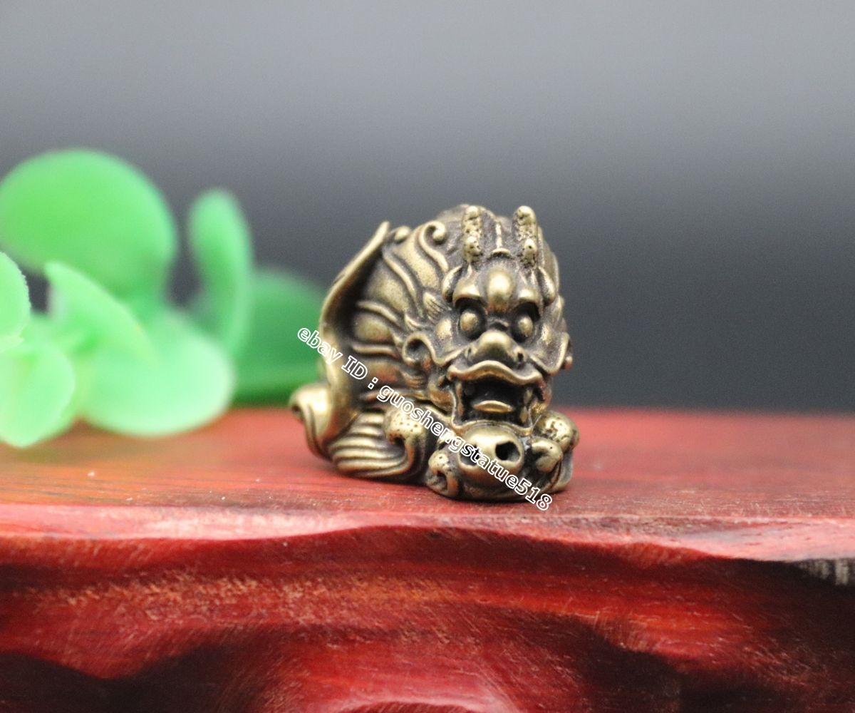 "2.8/"" Chinese Bronze Zodiac Animal Auspicious Dragon Earpick Ear Scoop Pendant挖耳勺"