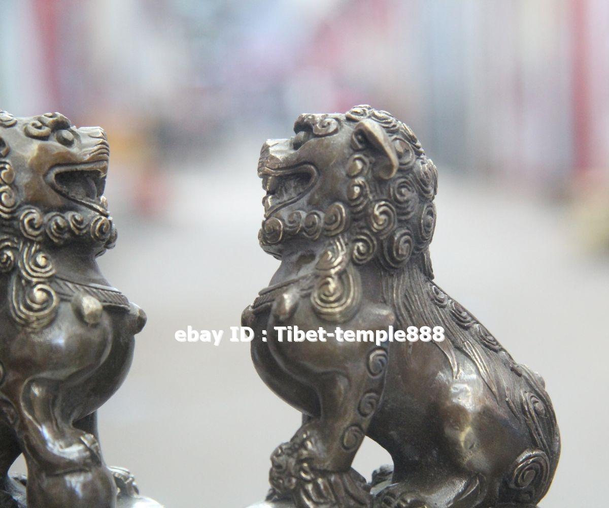 2.7 CM Chinese Bronze Foo Dog Lion play Ball exorcise evil spirits Animal Statue