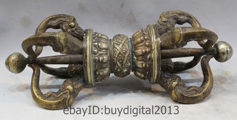 Tibet Buddhism Bronze cupronickel Buddhist Ritual Tool Hand Vajra Dorje