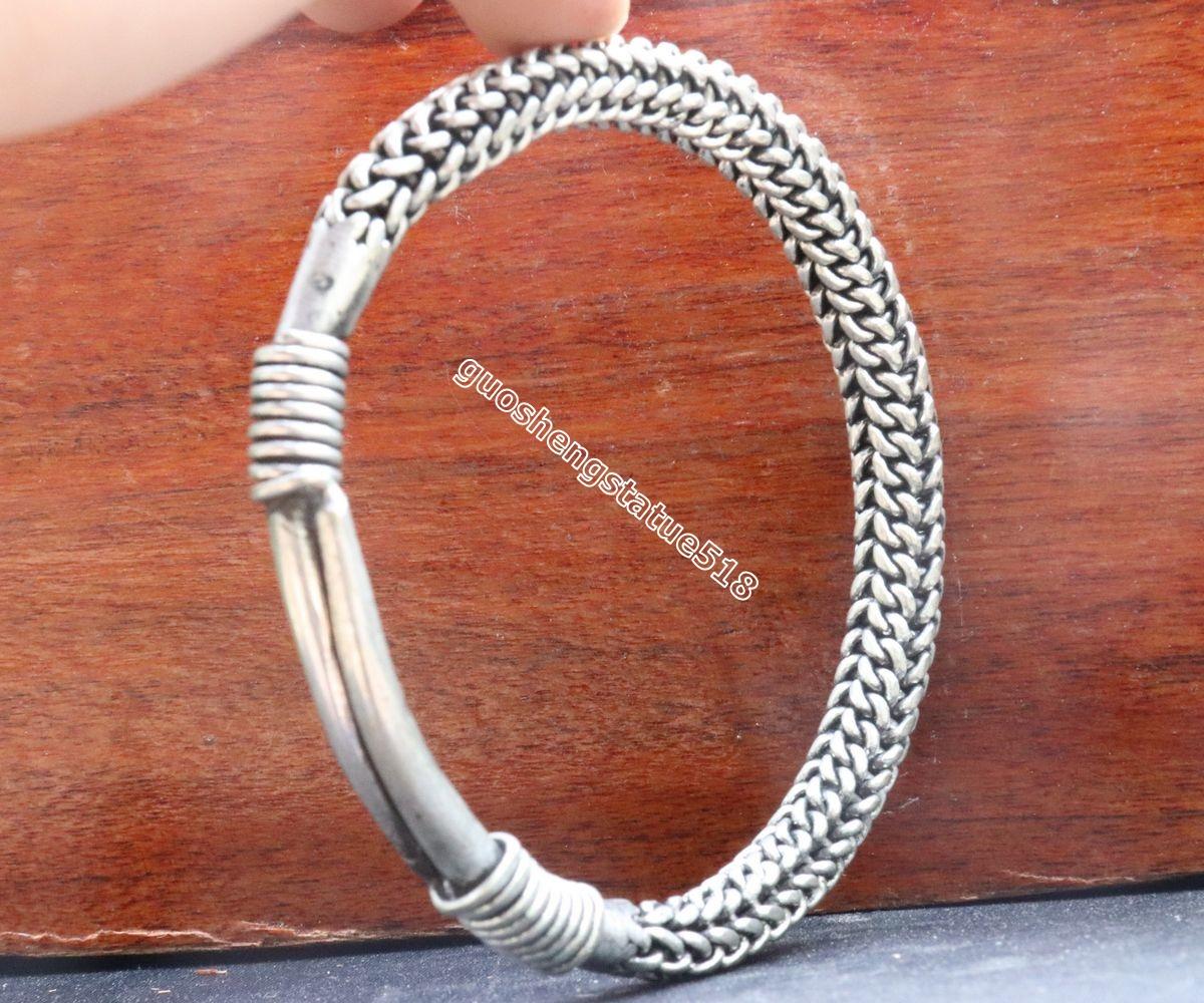 7 CM China Miao Silver Handwork auspicious Flexible caliber hand chain bracelet