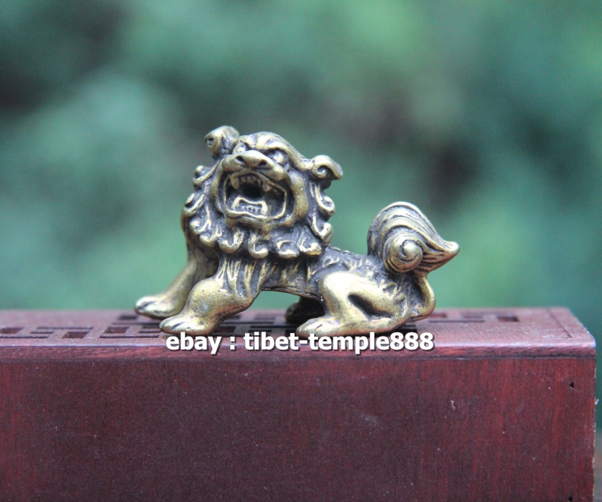 5.5 CM Chinese Brass Fengshui Animal Lucky Foo Dog Lion Guardian Beast Statue