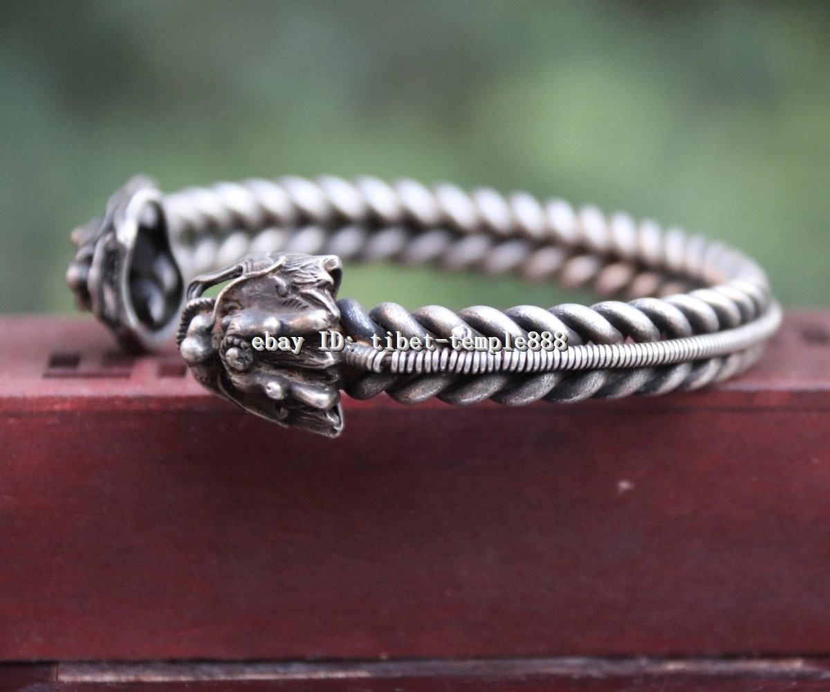 7.5 CM Chinese Miao Silver Handwork auspicious Dragon Head hand chain bracelet
