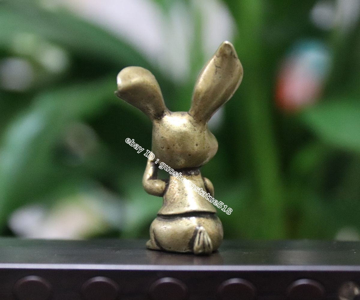 4.5 CM Pure Copper Chinese Zodiac Animal rabbit hare cony life-like sculpture 3#