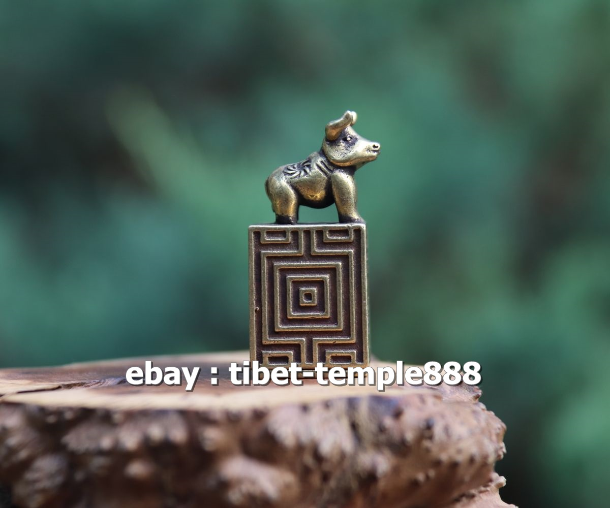 4 CM China Pure Brass zodiac Animal mouse mice Rat Sculpture seal stamper signet