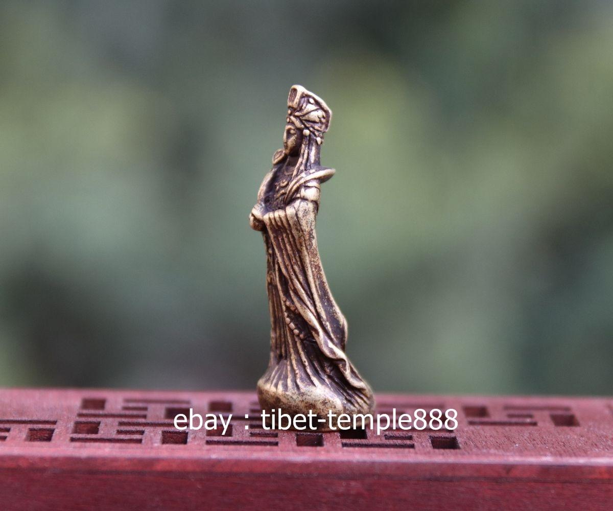 4.5 CM China Pure Bronze Sea-god Lady Mazu Goddess eudemon Guanyin Buddha Statue