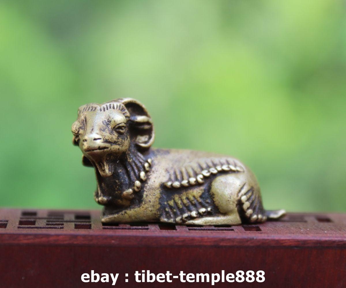 4.5CM China Pure Bronze Zodiac Animal Amulet Beast Ox Oxen Bull Statue Sculpture