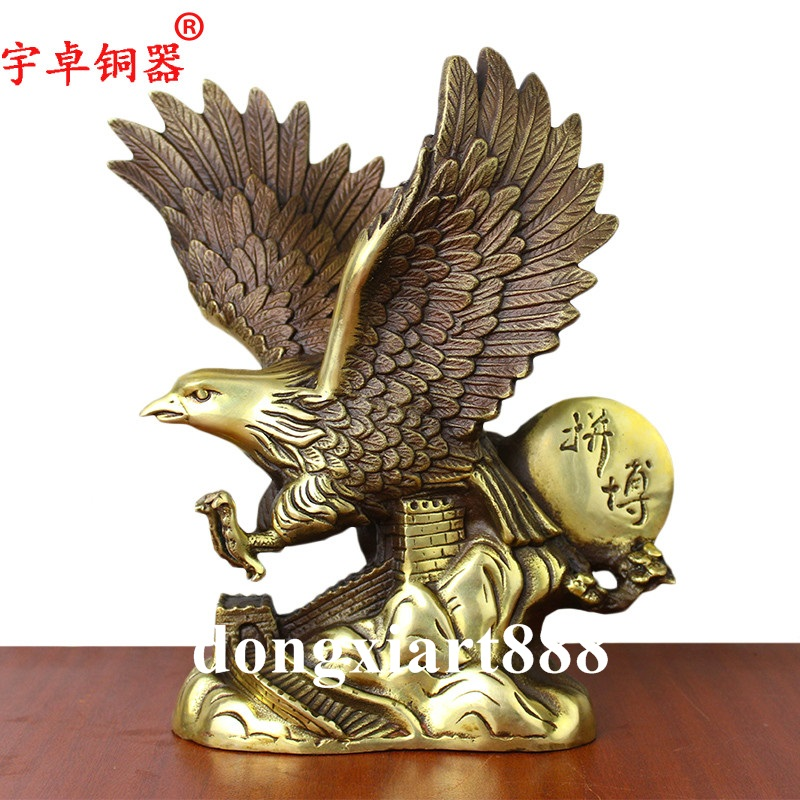 Chinese FengShui Sculpture Brass Copper Eagle Hawk Tercel Expanded Winged Statue