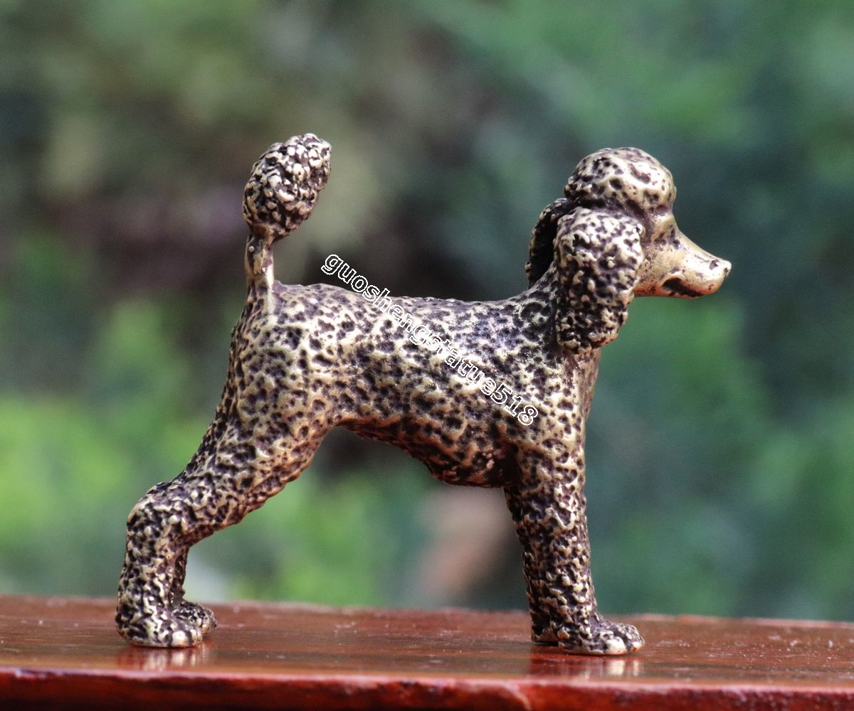 Pure Bronze Chinese Zodiac Animal Teddy Bear poodle Pet dog Art Deco sculpture