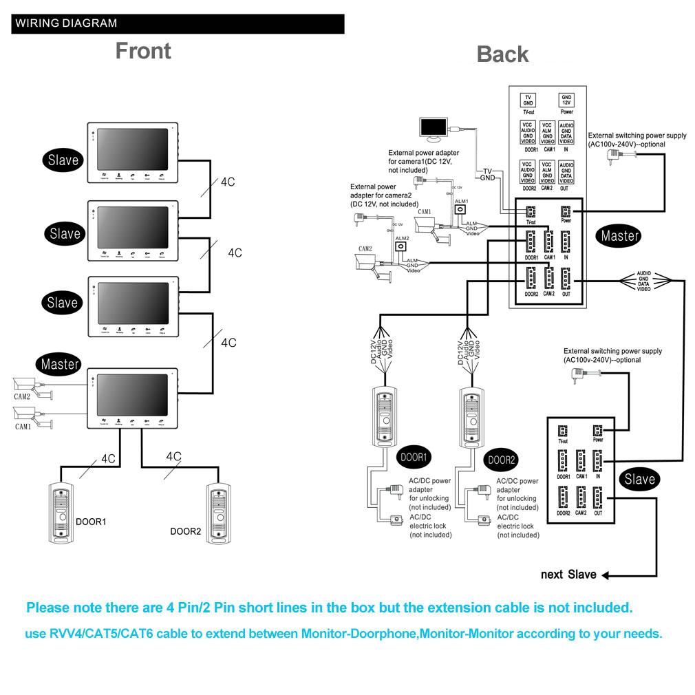 tmezon 7 u0026quot  intercom wired video doorbell door phone security camera system home