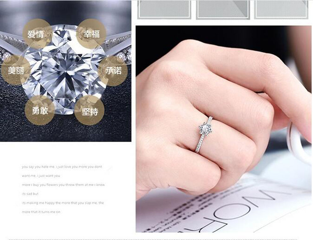 Ladies Fashion Jewelry 925 Silver Diamante Open Stretchable ...