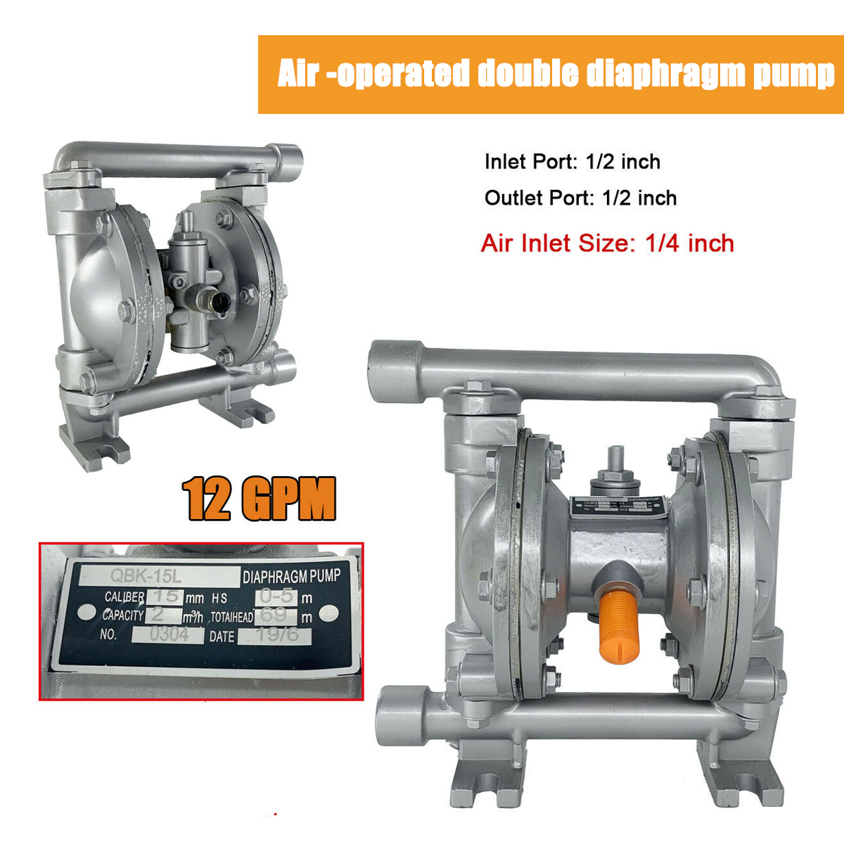 "Air-Operated Double Diaphragm Pump 1//2/"" Inlet/&Outlet Aluminum Alloy 115PSI"