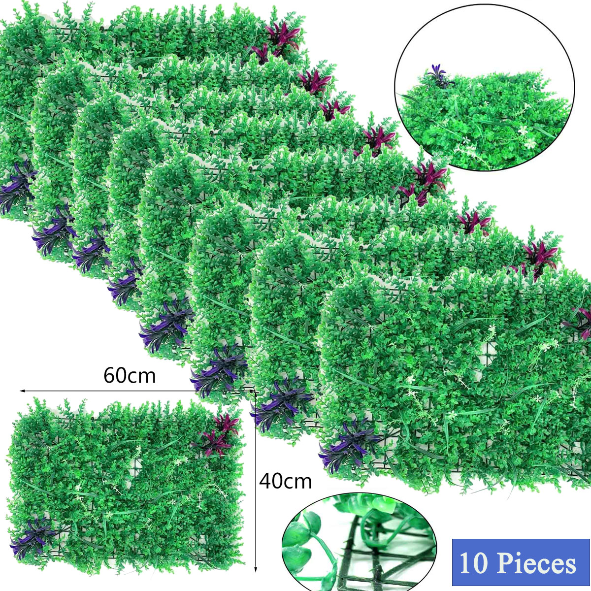 10pcs Artificial Boxwood Panels Topiary Hedge Plant Privacy Hedge Screen Ebay
