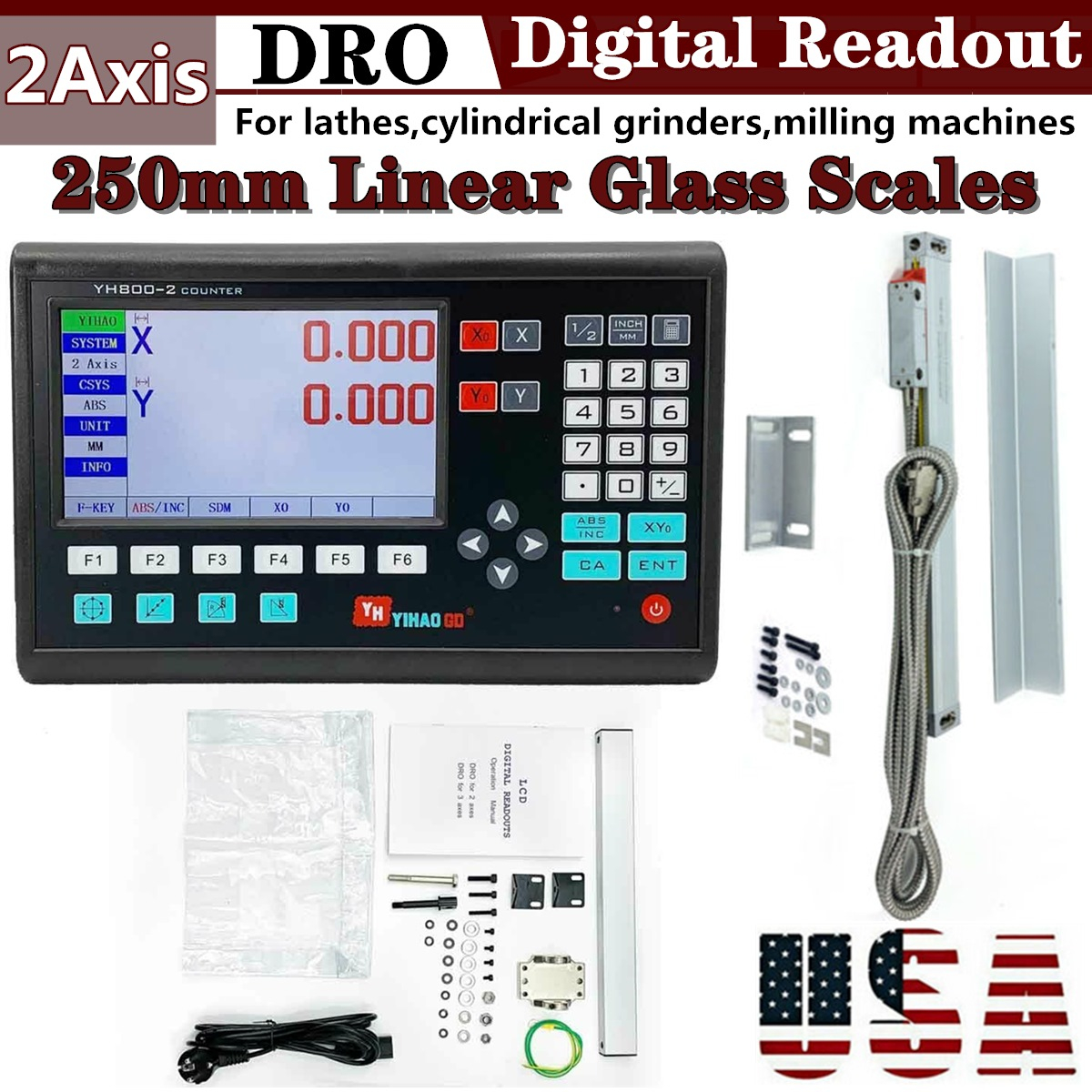 2 Axis DRO For Milling Lathe Machine /& 2 Linear Scales Digital Readout Meter FS