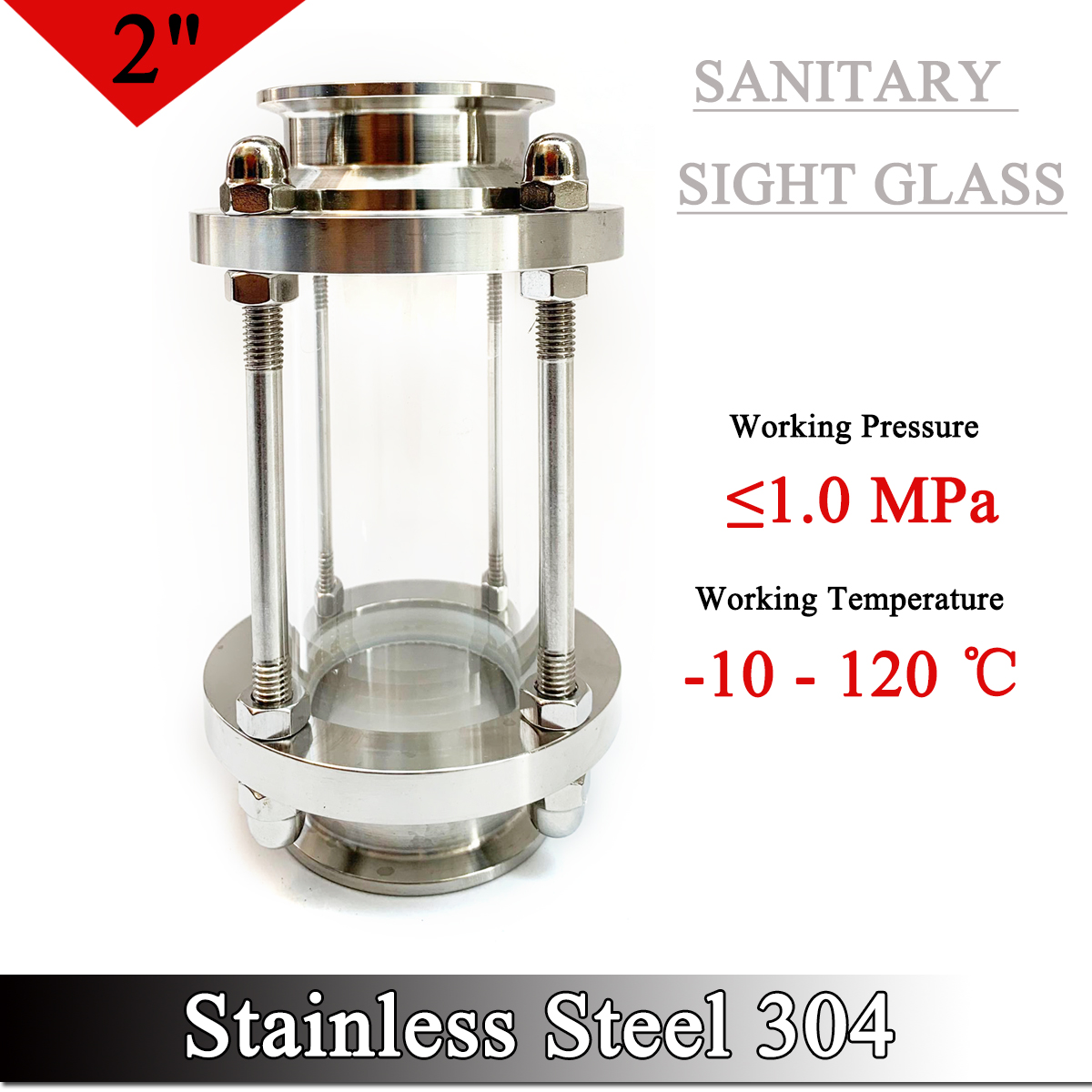 3 Sanitary Sight Glass Stainless Steel SS304 in-Line Sight Glass with Clamp End 3 OD:76MM Flow Sanitary Straight Sight Glass Tri-clamp
