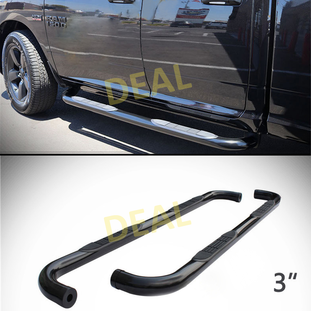 "2pcs 4/"" Oval Blk Side Step Nerf Bars Fit 09-18 Ram 1500 10-18 2500//3500 Crew Cab"