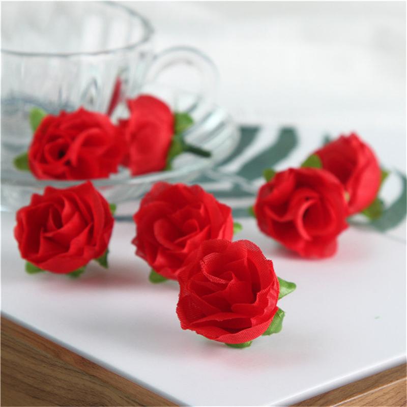 50PCS Mini Artificial Fake Roses Silk Flower DIY Wedding Party ...
