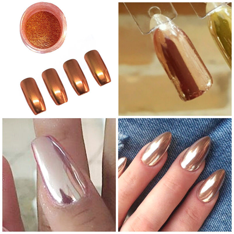 NEW Rose Gold Nail Mirror Powder Nails Glitter Chrome Powder Nail ...