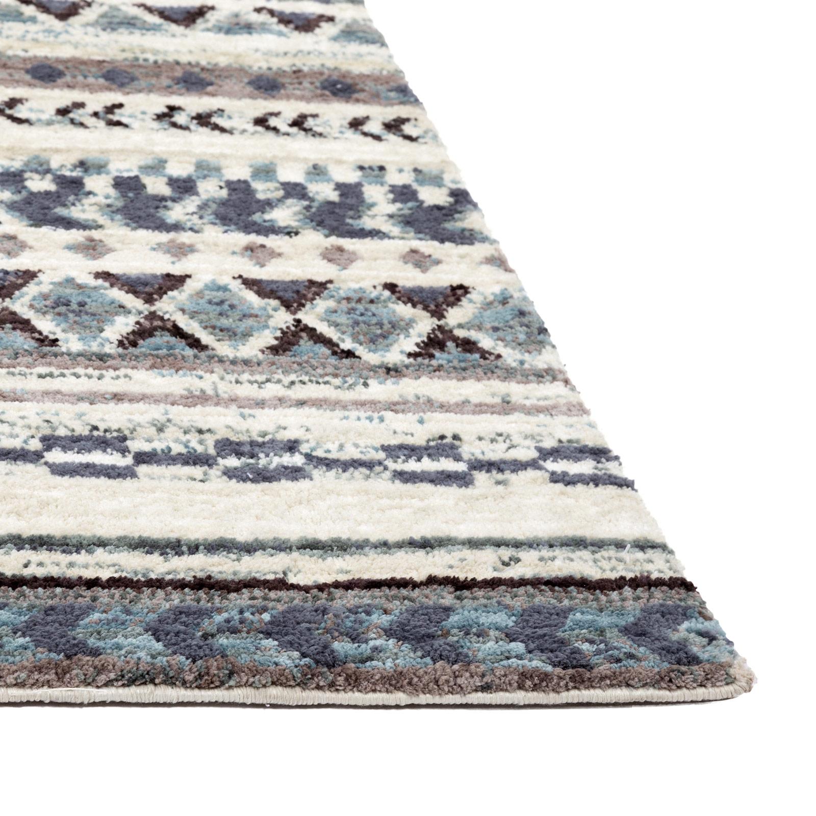 Gabbeh Teppich Wohnzimmer Mehrfarbig Grau Beige Creme Weiss Blau
