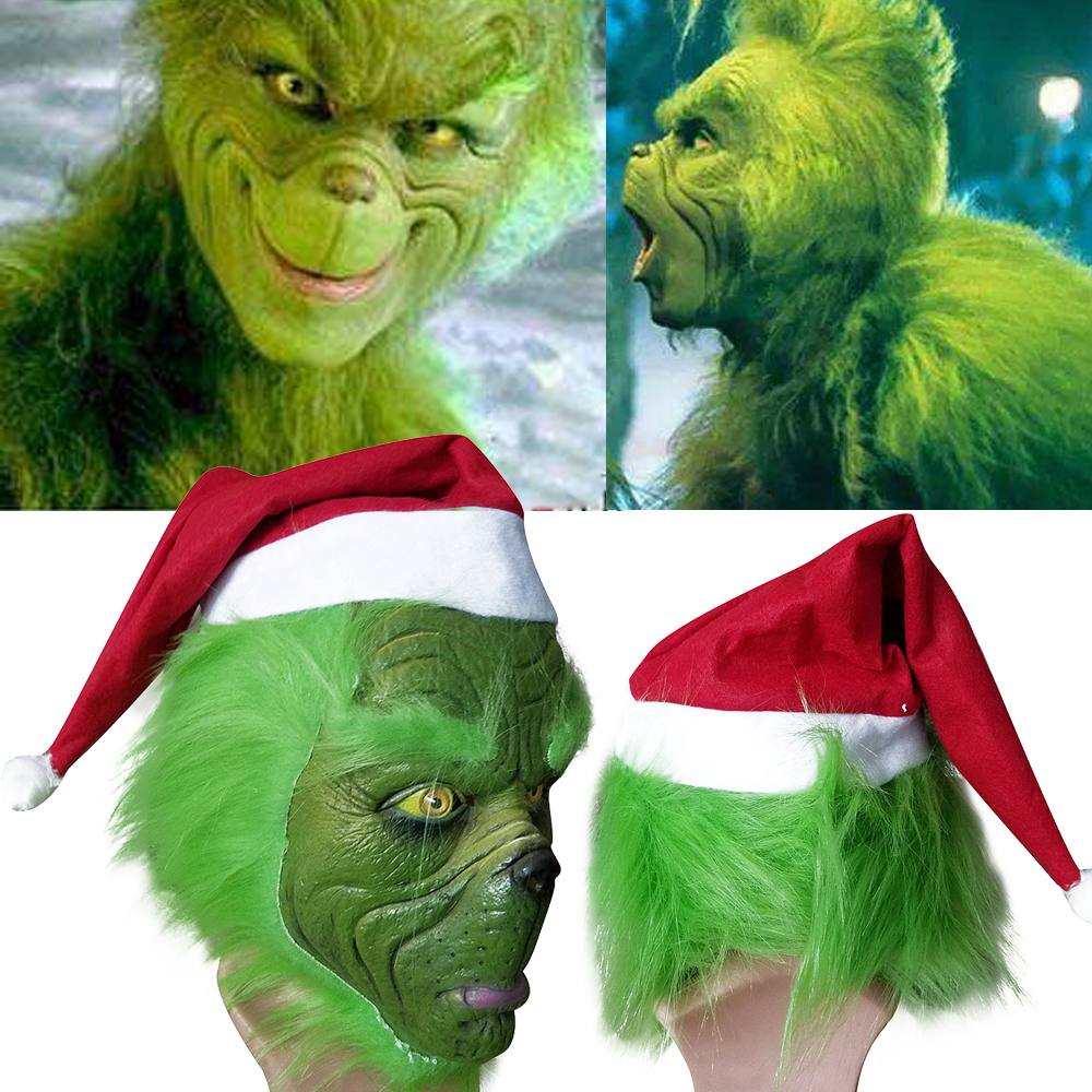 Grinch Stole Christmas Green Mask with Long Hair Xmas Hat Helmet Party Props UK