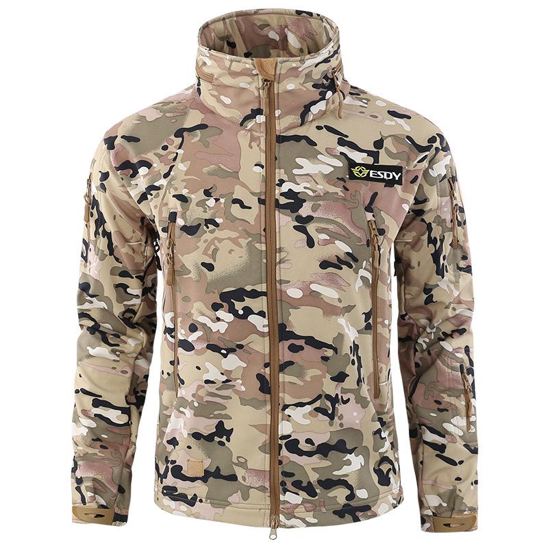 a2cd74d791397 Mens Fleece Lined Soft Shell Jacket Hoodie Shark Skin Military ...