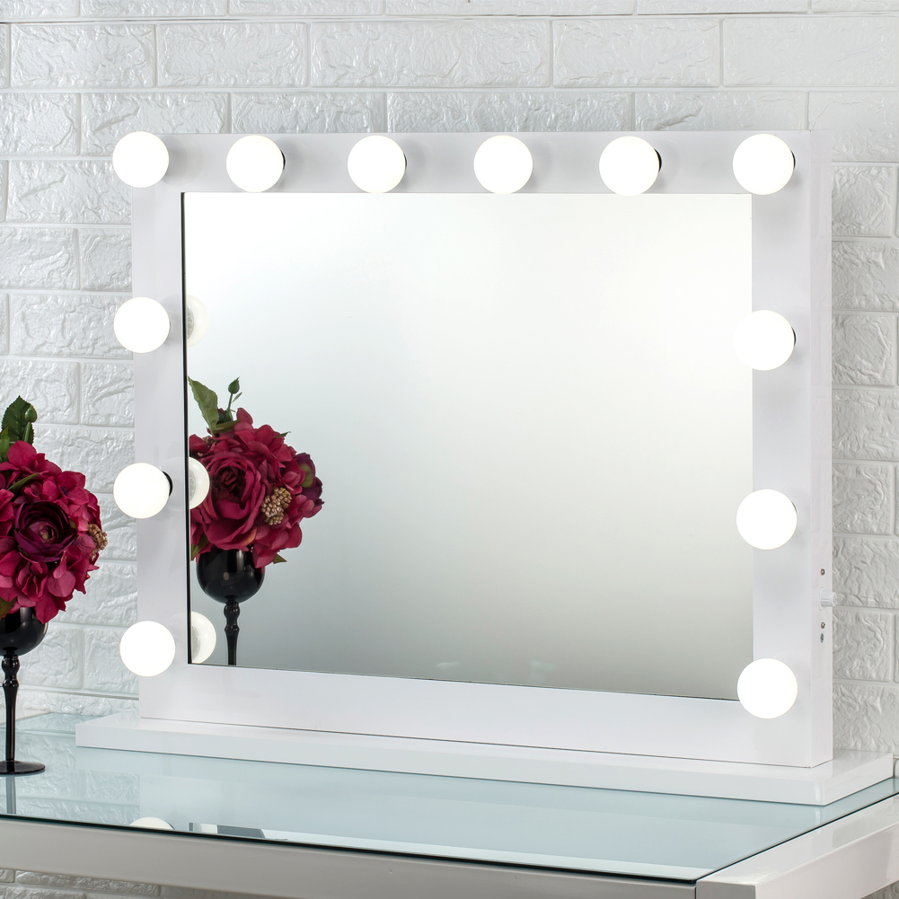 White Hollywood Makeup Vanity Mirror Lights Aluminum Stage