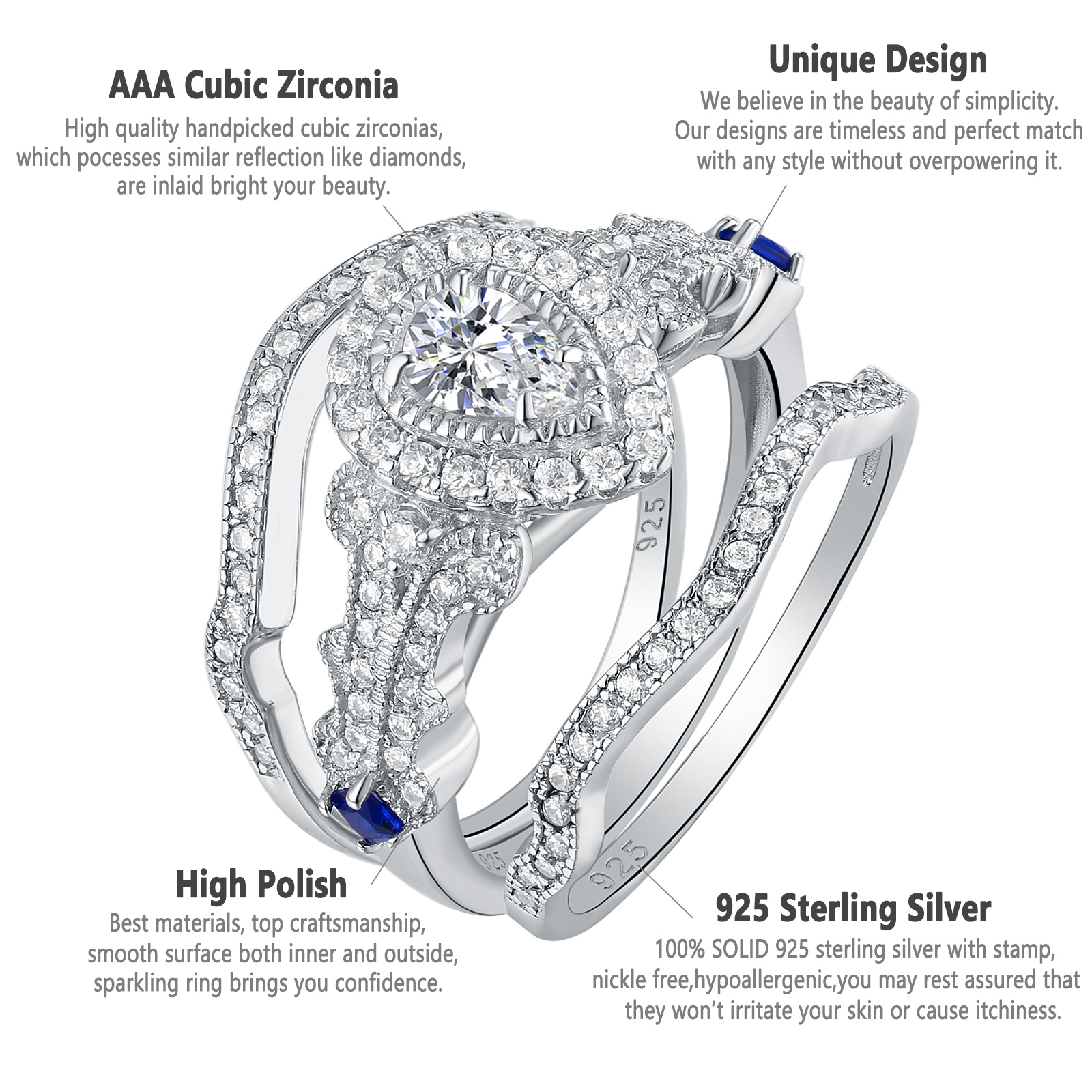 Diamond Unique Design Diamond Engagement Ring Solid 925 Sterling Silver Wedding Jewelry Jewelry & Watches