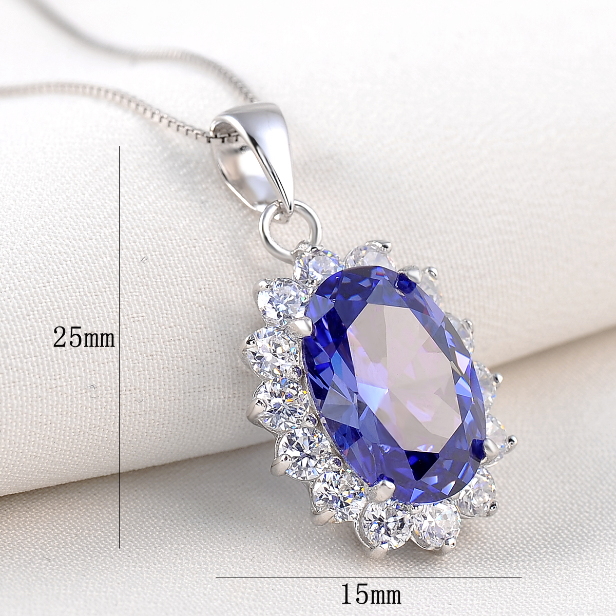 Jewelry Stores Network Sterling Silver Purple /& White CZ Oval Pendant