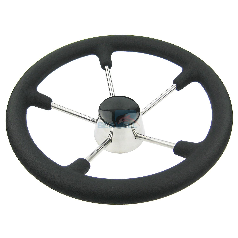 SEAWELL 15-1//2 inch Destroyer Marine Boat Steering Wheel 5 Spoke W//Black Foam Grip Knob