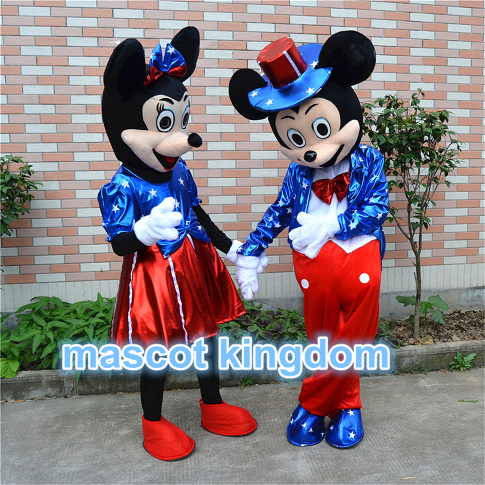 U-S-Flag-Mickey-Minnie-Mouse-Mascot-Costume-Halloween- & U.S. Flag Mickey $ Minnie Mouse Mascot Costume Halloween Party Fancy ...