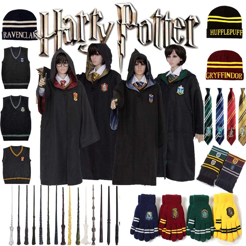 82db7ca6e3e12 Harry Potter Magic Wand Cosplay Vest Tie Scarf Hat Gloves Robe Adult ...