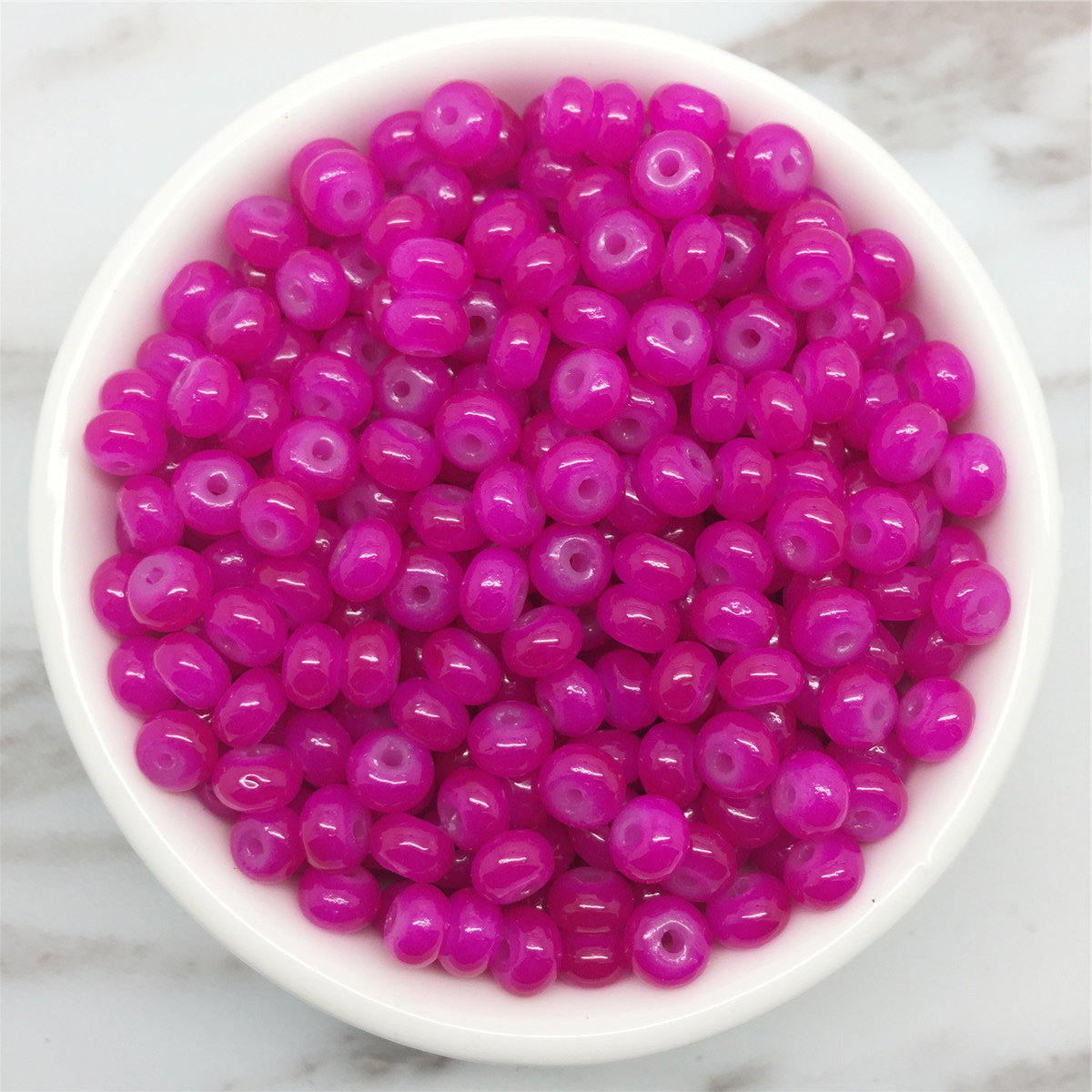 NEW 50PCS 6mm Glass  Pearl Spacer Loose Oblate Beads Jewelry Making Craft 32