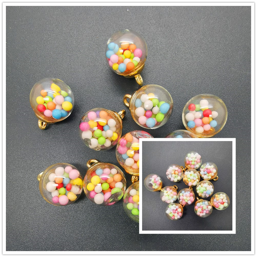 NEW DIY 8PCS 16MM Mini Glass Bottles with Beads Pendant Ornaments Jewelry Making