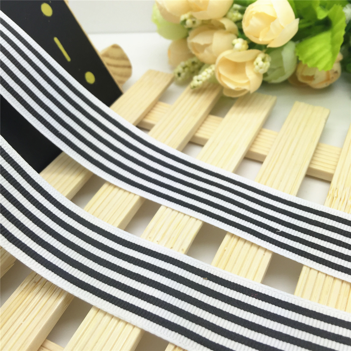 5 Yards 1/'/' 25mm Multicolor Fringe line Printed Grosgrain Ribbon Hair Bow Sewing