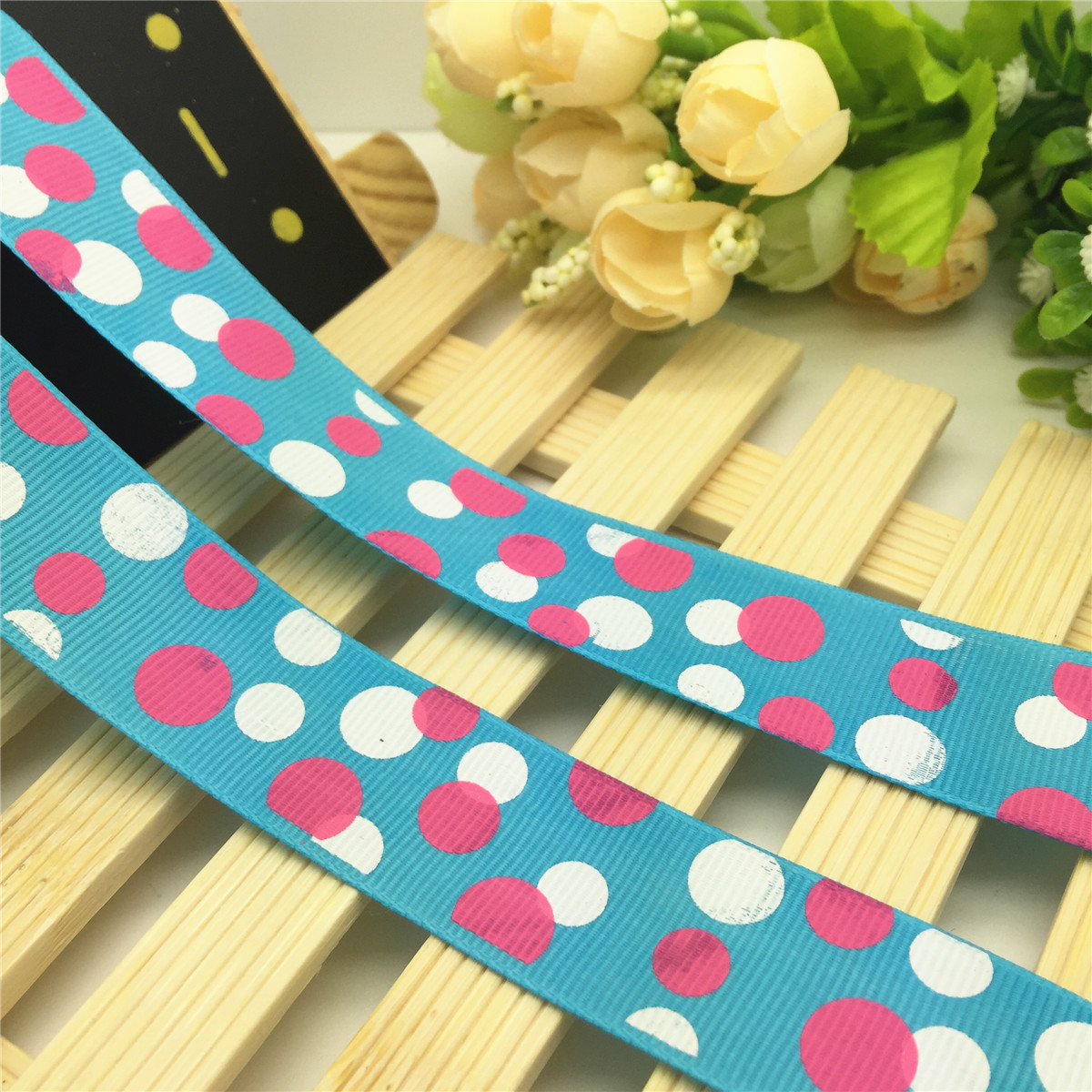 NEW DIY 5 Yards 1/'/' 25mm Deep blue Dot juice Printed Grosgrain Ribbon Hair Bow