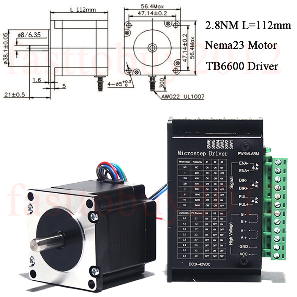Stepper Motor Nema23 Driver TB6600 Kits 4-wires 420oz-in 2.8NM for on