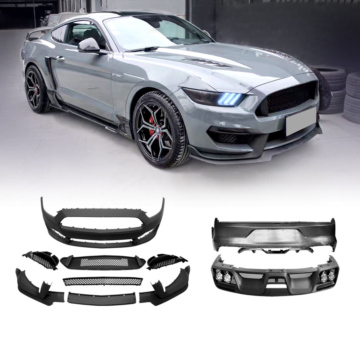 15-17 Ford Mustang GT350 Style Body Kit Front Rear Bumper