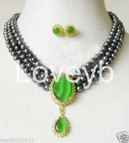 3Rows 7-8MM Real White Akoya Cultured Pearl /& Green Jade Pendants necklace