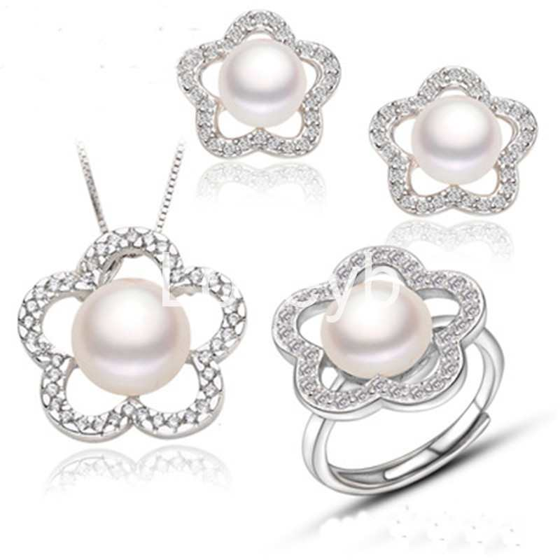 Natural Freshwater Pearl Necklace Earring Set Ring 925 Sterling