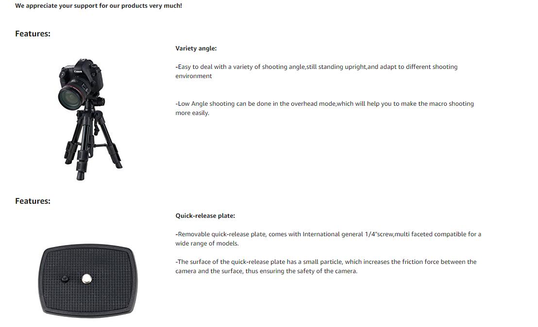 BONFOTO B71T tragbare leicht Kompaktkamera Pro 52CM mit MiniStativ ...