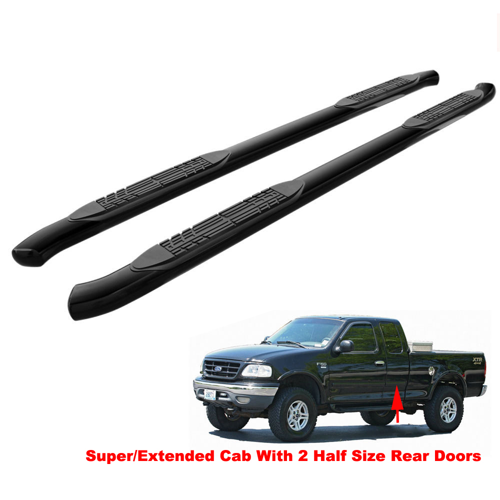 "4/"" BLK Curved Running Boards For 07-18 Silverado//Sierra Double Cab Nerf Side Bar"