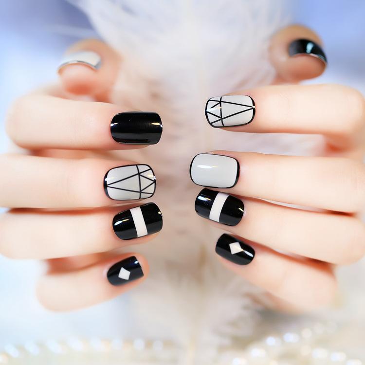 Details about Fashion False Acrylic Short Cute 24 PCS Nail Art Gel nail tips