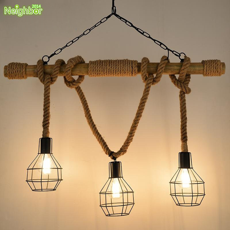 Rustic rope bamboo pendant light metal cage lamp shade industrial rustic rope bamboo pendant light metal cage lamp shade industrial chandelier aloadofball Choice Image