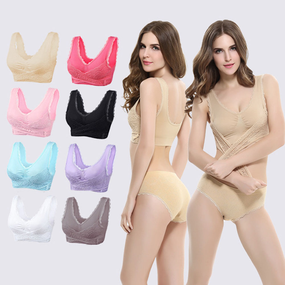 1Pcs Front Cross Side Buckle Wireless Lace Yoga Bra Breathable For Women Sport