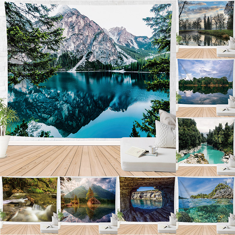 1 Pc Nature Scenery Printed Tapestry Wall Hanging For Background Cloth Blanket