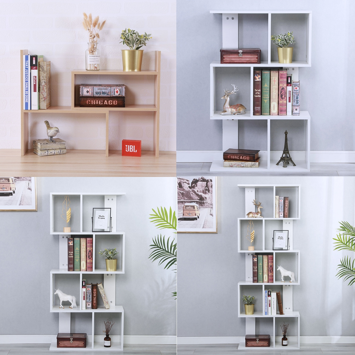 Details About Bookcase Desktop Shelf Desk Bookshelf Storage Organizer Wood Rack Table Office