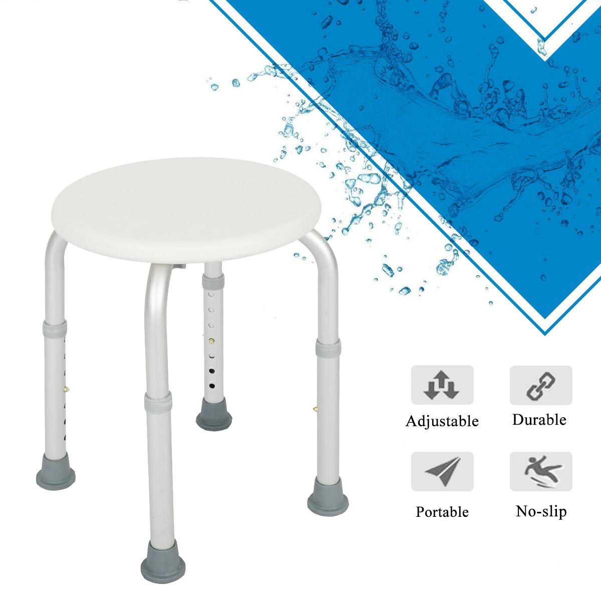 Cool Details About New Round Bath Shower Stool Seat 7 Levels Adjustable Height Medical Security Onthecornerstone Fun Painted Chair Ideas Images Onthecornerstoneorg
